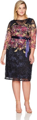 Chetta B Plus Size 3/4 Printed Lace Womens Dress