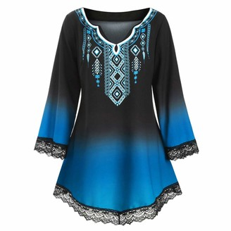 KPILP Womens Plus Size Loose fit Vintage Mini Dress Long Sleeve V Neck Oversized Baggy Retro T Shirt Dresses Ladies Casual Elegant Summer Ethnic Lace Party Dress(Blue 3XL)