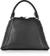 Akris S Aimee Black and Cream Pebbled Leather Satchel Bag