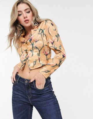 Dusty Daze button front blouse co-ord in floral jacquard