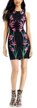 GUESS Embroidered Mesh Sheath Dress