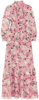 Erdem Clementine Gathered Floral-print Silk-voile Gown