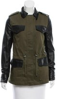 Veda Lightweight Leather-Trimmed Military Jacket