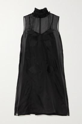 Prada Appliqued Silk-organza Midi Dress - Black