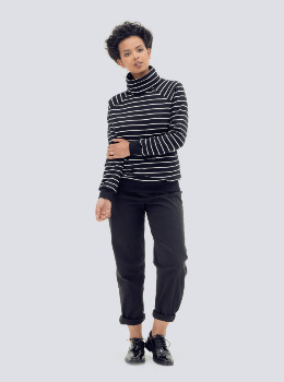 Zola Amour - Organic Cotton Striped Jumper in Black and White - EXTRA LARGE - Black/White