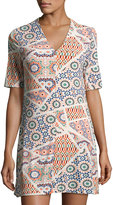 Cynthia Steffe Jocelyn Half-Sleeve Geometric-Print Dress, Neutral Pattern