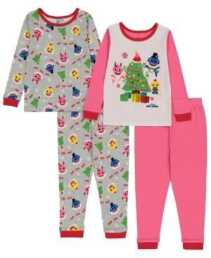 AME Baby Shark Toddler Girl 4 Piece Pajama Set
