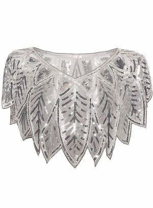 keland 1920s Womens Shawl Sequin Beaded Evening Cape Shrug Floral Deco Wraps(Silver)