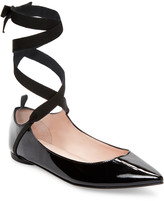 Repetto Patent Lace-Up Flat