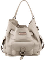 Burberry Buckle Accented Leather Hobo