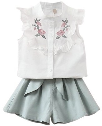 Maynos Summer Baby Girls Clothing Set Children Heart Shirt Bow Shorts Suit Kids Floral Bow Clothes 2Pcs Set