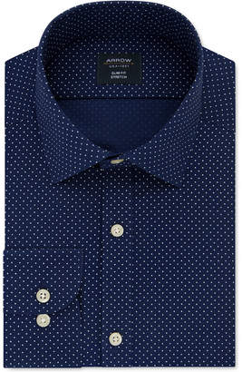 Arrow Men Slim-Fit Dot-Print Dress Shirt