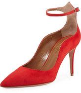 Aquazzura Dolce Vita Suede 85mm Ankle-Strap Pump, Red