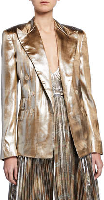 Ralph Lauren Elias Metallic Checkered Blazer Jacket