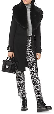 MICHAEL Michael Kors Faux-Fur Collar Wool-Blend Coat