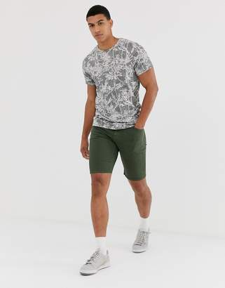 Jack and Jones oversized palm print t-shirt in grey