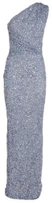 Rachel Gilbert Embellished Reed One-Shoulder Gown