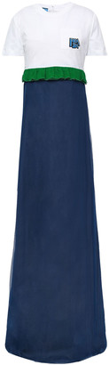 Prada Cotton Jersey-paneled Embellished Silk-crepon Maxi Dress