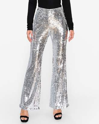 Express Endless Rose Silver Sequin Flare Pants