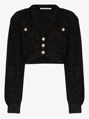 Alessandra Rich Crystal Button Cropped Cardigan