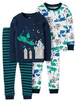 Toddler Boys' 4-Piece Snug Fit Cotton Pajama Set Knight & Dragons - Navy - Just One You Made by Carter's®