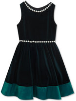 Rare Editions Pearl-Trim Velvet Dress, Big Girls (7-16), Created for Macy's