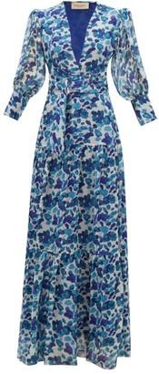 Adriana Degreas Lotus Leaf-print Plisse Silk-georgette Dress - Womens - Blue Print