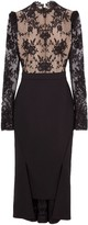Alexander McQueen Open-back Lace And Wool-blend Crepe Midi Dress