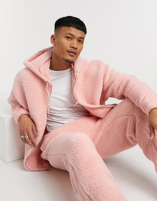 ASOS DESIGN co-ord oversized zip-up hoodie in pink teddy borg