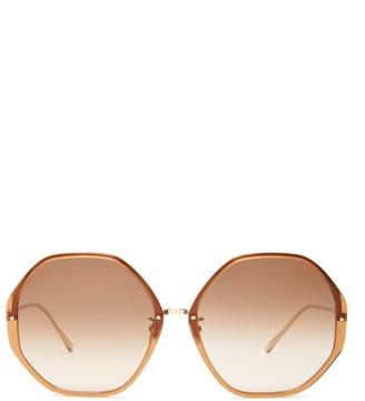 Linda Farrow Oversized Heptagonal Acetate Sunglasses - Brown