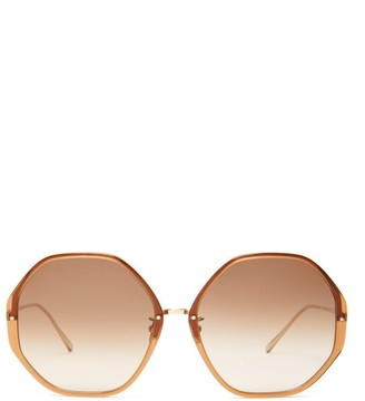 Linda Farrow Oversized Heptagonal Acetate Sunglasses - Womens - Brown