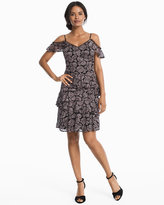 White House Black Market Cold-Shoulder Floral Lace Tiered Dress