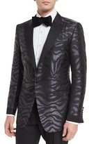 Tom Ford O'Connor Base Tonal Zebra-Print Silk Sport Jacket, Black