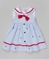 Good Lad Light Blue Seersucker Nautical Dress - Girls