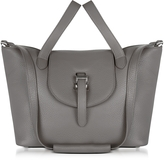 Meli-Melo Elephant Grey Leather Thela Medium Tote Bag