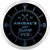 AdvPro Clock ncpo0938-b ANIBAL'S Baseball 10th Inning Pub Beer Bar LED Neon Sign Wall Clock