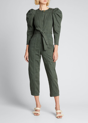 Ulla Johnson Pascal Puff-Sleeve Belted Jumpsuit