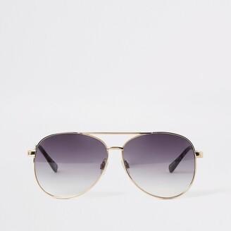 River Island Womens Gold textured arm aviator sunglasses