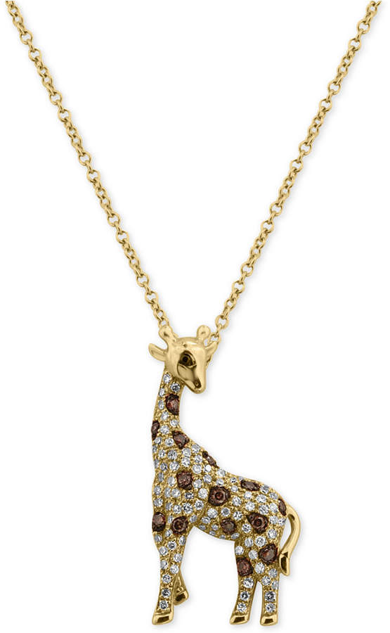 Effy Diamond Giraffe Pendant Necklace (3/8 ct. t.w.) in 14k Gold