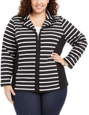 Karen Scott Plus Size Notch Collar Zip-Front Jacket, Created For Macy's