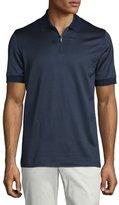 Brioni Micro-Grid Jacquard Quarter-Zip Polo Shirt, Navy/Aqua