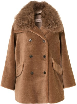 Yves Salomon Meteo Shearling-Trim Double-Breasted Coat