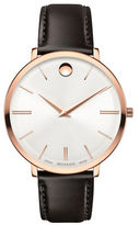 Movado Ultra Slim Leather Strap Analog Watch