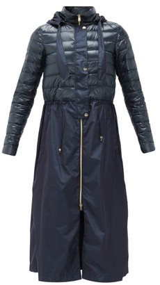 Herno Quilted Technical-fabric Hooded Coat - Navy