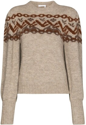 Chloé Alpine-Knit Puff-Sleeve Jumper