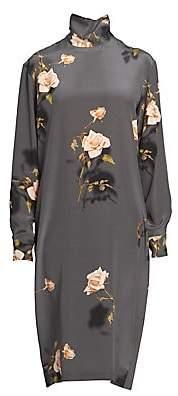 Dries Van Noten Women's Rose Print Silk Turtleneck Shift Shirtdress