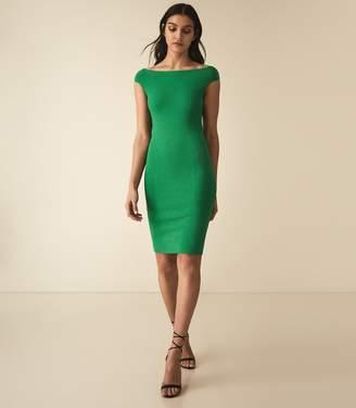 Reiss Pippa - Knitted Bardot Bodycon Dress in Green