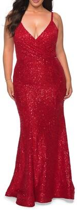 La Femme Sparkle Lace Cutout Back Trumpet Gown