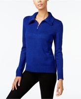 Karen Scott Wing-Collar Zip-Up Sweater, Created for Macy's