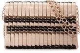 Nancy Gonzalez Bamboo Woven Crocodile Shoulder Bag, Blush/Black/Taupe